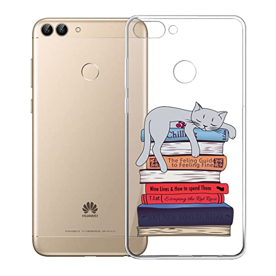 Case for Huawei P Smart/Enjoy 7S, IJIA Transparent Cat and Book Clear TPU Soft Silicone Protection Bumper Fashion Skin Back Shell Case Cover for ...