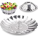 "100%Stainless Steel Steamer Basket Seafood Steamer, Food Steamer, Vegetable Steamer - 5.3"" to 9.3"" – Stainless Steel ,Pasta Steamer Folding Collapsible Basket for Various Size Pots by Timmy"