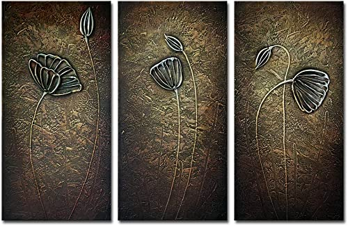 Wieco Art 3 Piece Abstract Floral Oil Paintings on Canvas Wall Art Ready to Hang for Bedroom Kitchen Home Decorations Bronze Elegance Modern Stretched and Framed 100 Hand Painted Flowers Artwork