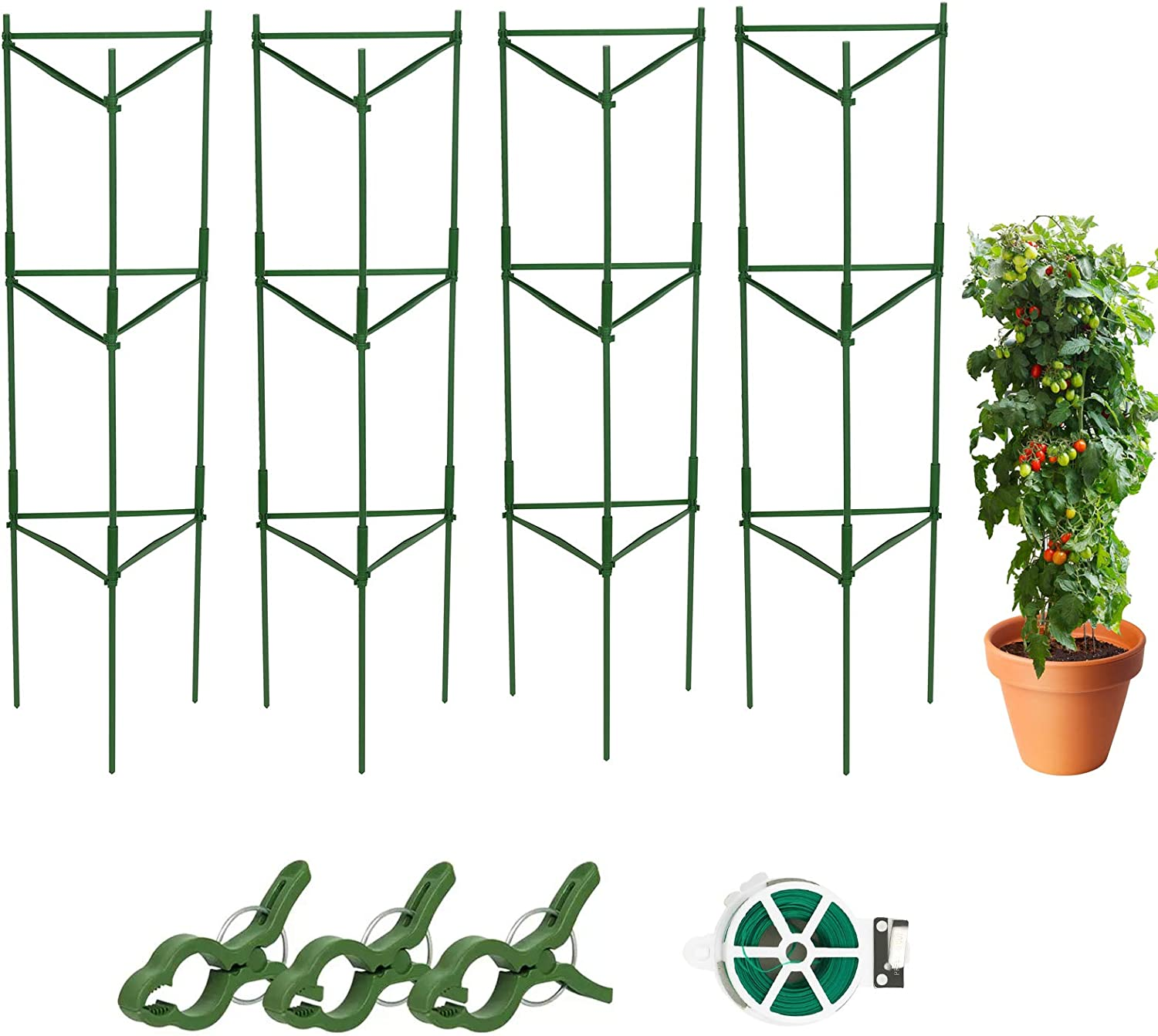 ACTREY Tomato Cages Assembled Plant Supports, 4 Pack Tomatoes Trellis Plant Cages Tomato Stakes Garden Cages, Multi-Functional Tomato Trellis for Vertical Climbing Plants