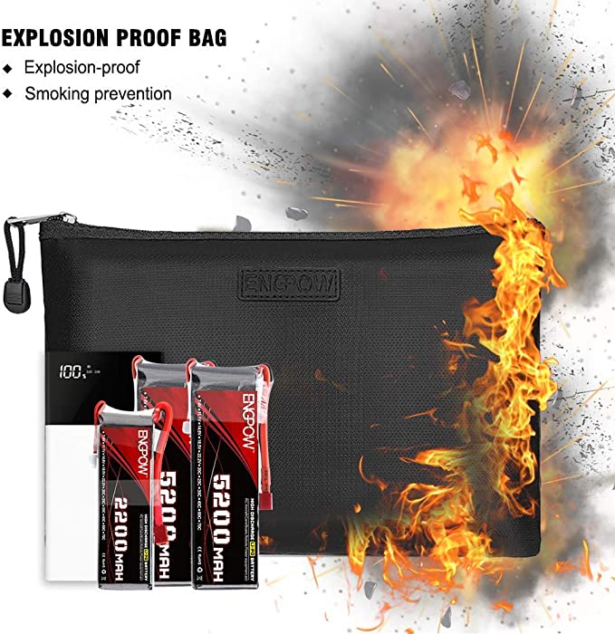 Details about  /Fireproof Money Bag ENGPOW Fire Water Resistant Securit Bank Deposit//Utility ...