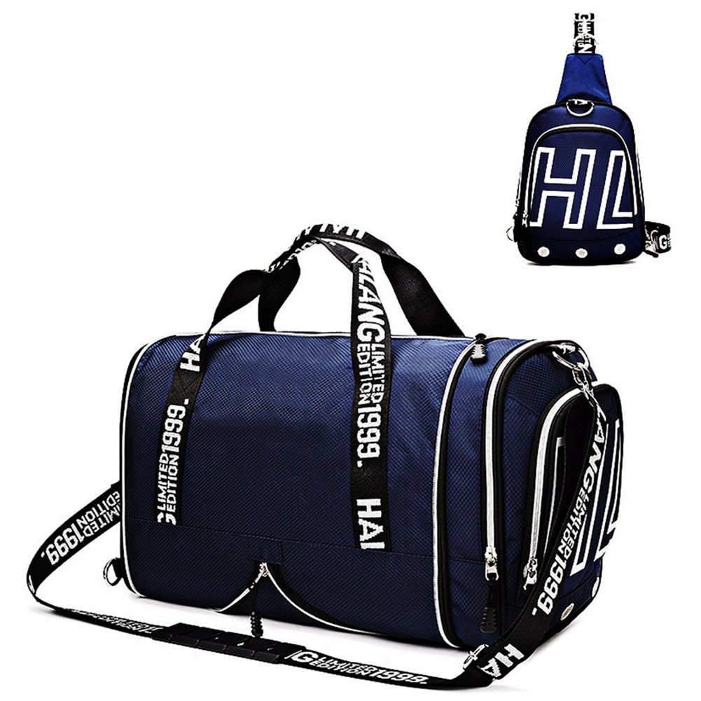 Gym Bags Weekender Overnight Duffel Bag with Shoes Compartment Carry on Travel Tote (Blue)
