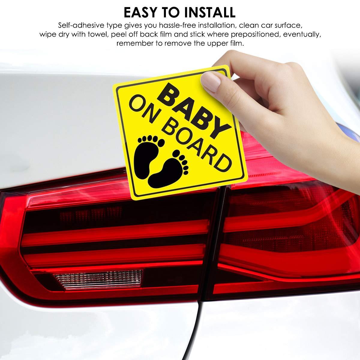 A 2Er Pack Baby an Bord Aufkleber Auto Aufkleber Sicherheitsschilder Selbstklebend Einfach zu Installieren Wasserdicht Langlebig