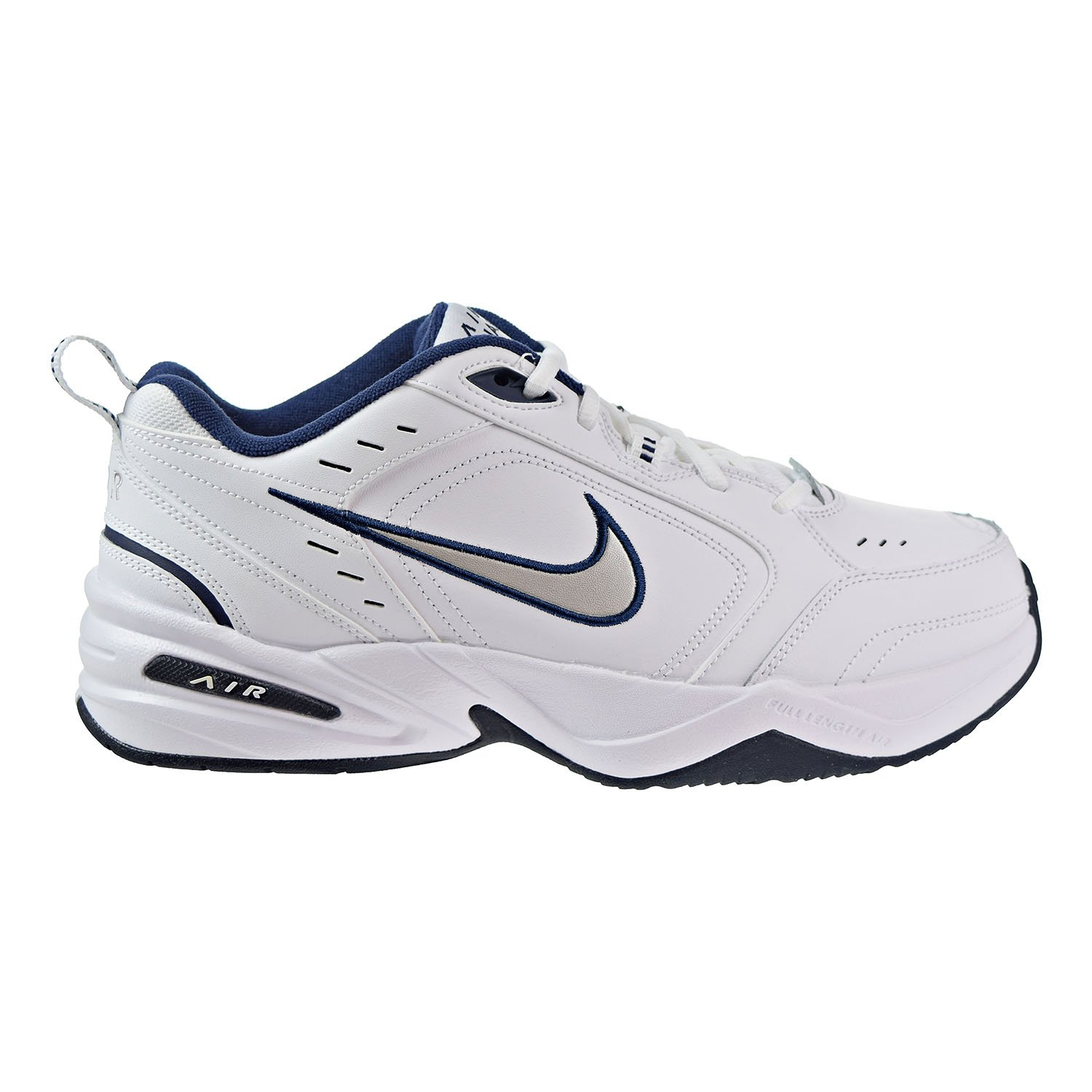 f78d47c20c4b Nike Men s NIKE AIR MONARCH IV (4E) RUNNING SHOES -10  White   Metallic  Silver-Midnight Navy  Amazon.co.uk  Shoes   Bags