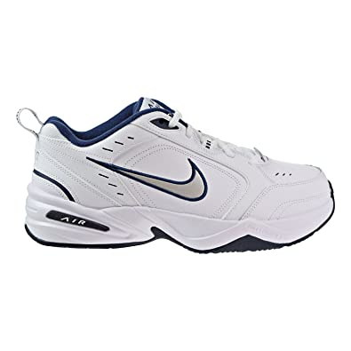 8f7b4e3685f Nike Men s NIKE AIR MONARCH IV (4E) RUNNING SHOES -10  White   Metallic  Silver-Midnight Navy  Amazon.co.uk  Shoes   Bags