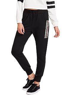 26c7feec42c SweatyRocks Women s Drawstring Waist Striped Side Jogger Sweatpants with  Pockets