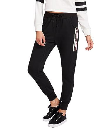 d19914cd3d0c SweatyRocks Women s Drawstring Waist Striped Side Jogger Sweatpants with  Pockets (Medium