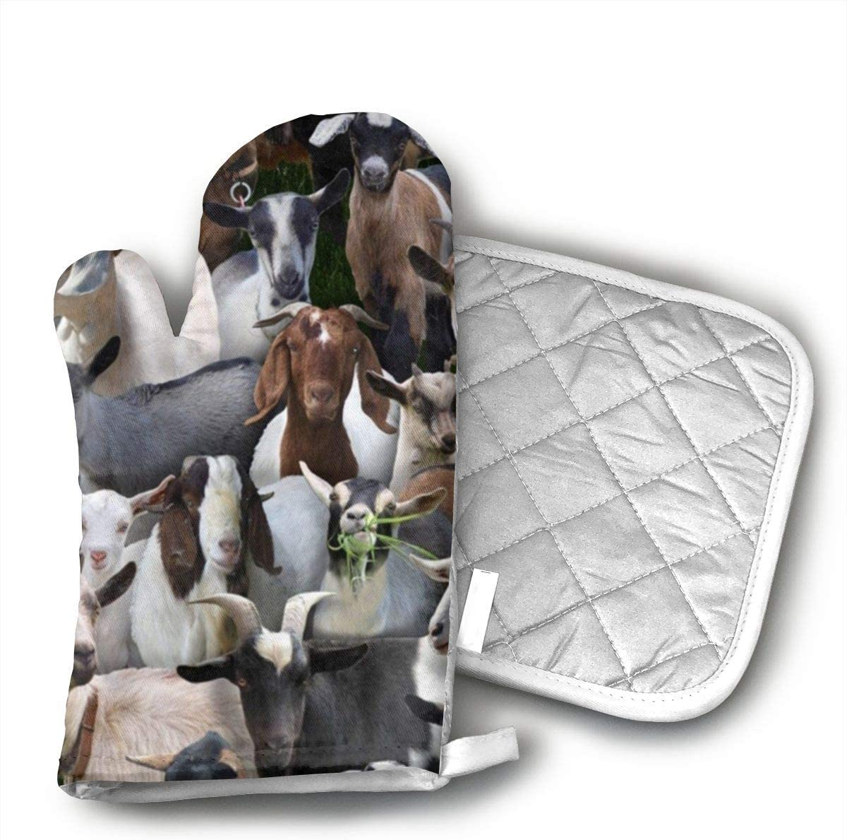 Wiqo9 Farm Animals Goats Oven Mitts and Pot Holders Kitchen Mitten Cooking Gloves,Cooking, Baking, BBQ.