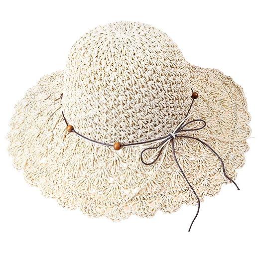 d6ddd9cf7 WDM Foldable Crochet Sun Hat Hollow Dome Straw Wide Brim Summer ...