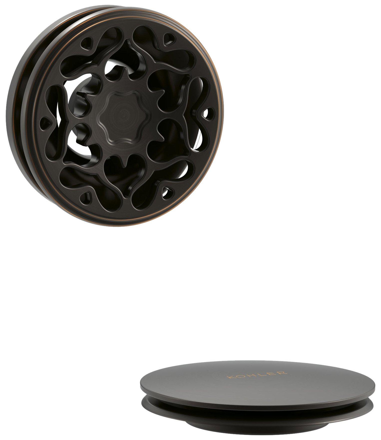 Kohler K-T37397-2BZ PureFlo Cable Bath Drain Trim with Victorian Push Handle Button Handle, Oil Rubbed Bronze