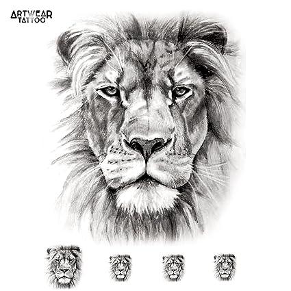 Tatouage Temporaire Realistic Lion Artwear Tattoo B9937 M