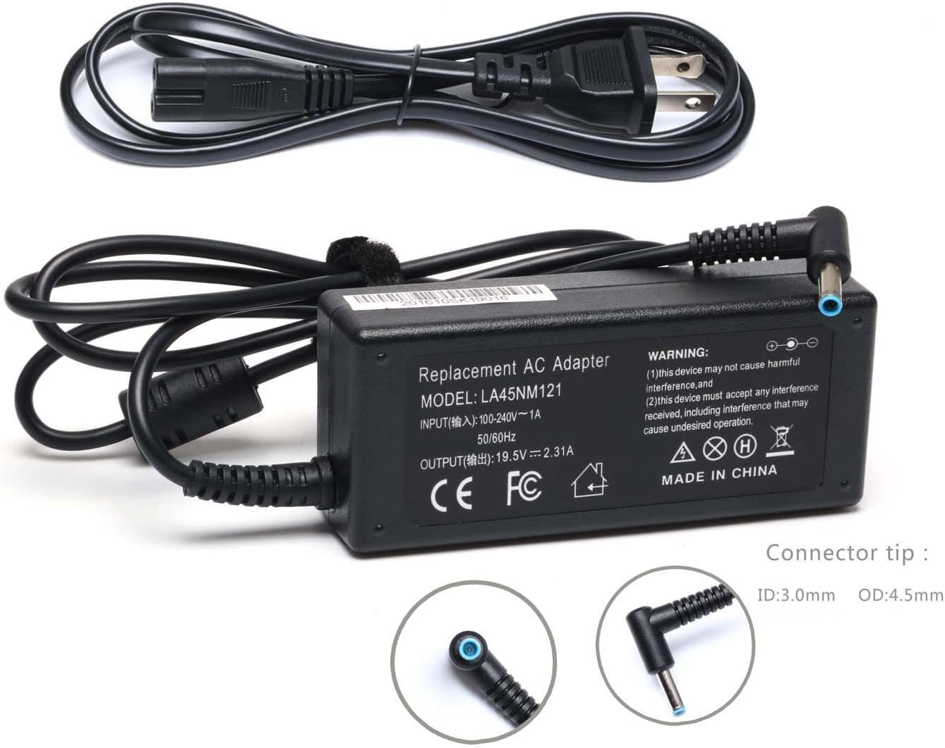 19.5V 2.31A 45W Emaks Ac Adapter/Laptop Charger/Power Supply for HP Laptop 14-CF0000 15-DA0000 15-CC000 Series:14-cf0012dx 14-cf0014dx 14-cf0013dx cf0006dx 15-da002dx 15-da0073ms da0085od da0012dx