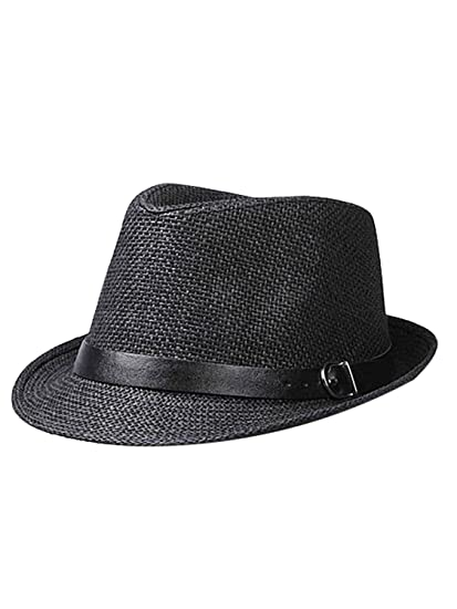 5bf685e58b3 Image Unavailable. Image not available for. Color  Unisex Summer Straw  Panama Trilby Sun Fedora Hat ...