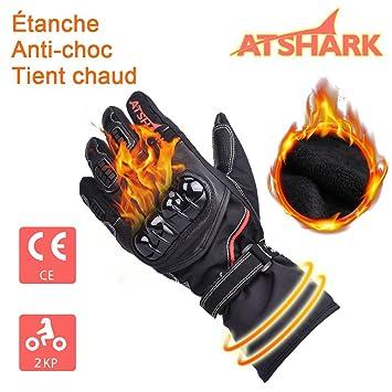 e0ad931b8932c ATSHARK Gants Moto et Scooter Gant homologué Obligatoire Gant Moto Tactile  étanche Hiver Chaud épais,