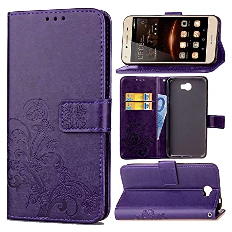 pinlu Funda para Huawei Y5 II Función de Plegado Flip Wallet Case Cover Carcasa Piel PU Billetera Soporte con Trébol de la Suerte Púrpura