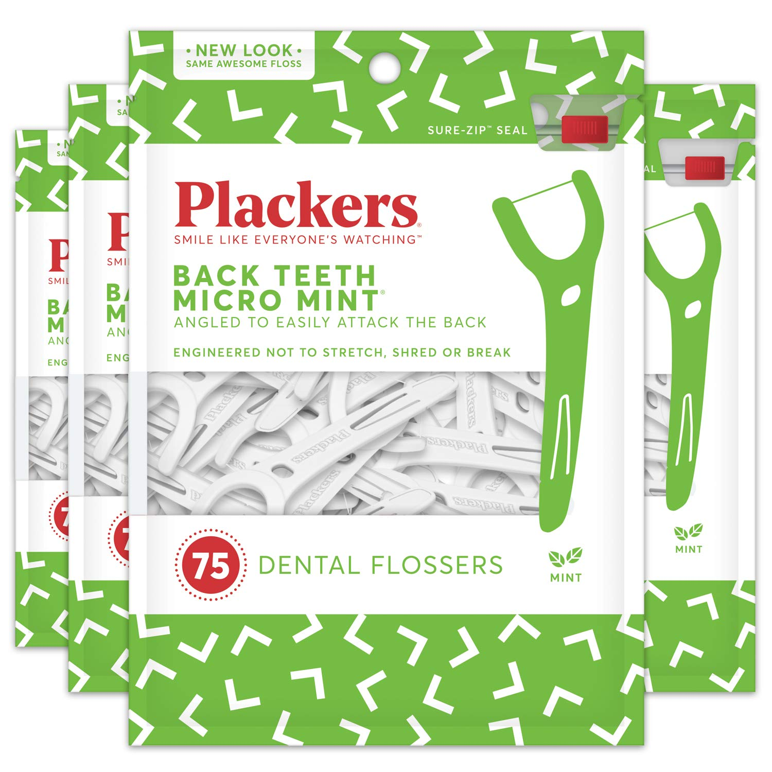 Plackers Back Teeth Micro Mint Dental Floss Picks, 75 Count (Pack of 4) Ranir 303765518