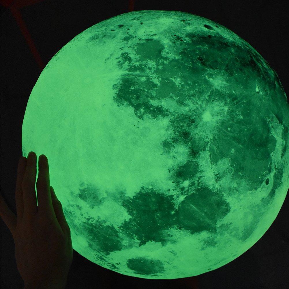 Amazon Vancore ウォールステッカー月 蛍光 宇宙 ポスター 直径50cm