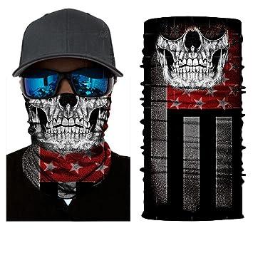 qiulv Multifuncional Headwear Pañuelo Pasamontañas Máscara Cuello Deporte Venda Banda Sudor Cráneo Patrón Hairband Bufanda Resistencia