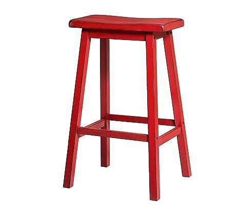 Amazon.com: ACME Furniture barstools, Antique Red: Kitchen ...