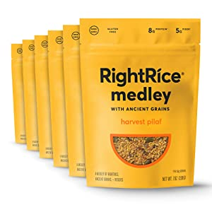 RightRice Medley - Harvest Pilaf (7oz. Pack of 6) - Made from Vegetables – Ancient Grains and More Veggies, Vegan, non GMO, Gluten Free