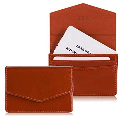bottom price limpid in sight really comfortable WWW Genuine Leather Business Card Holder Business Card Case with Magnetic  Shut for Men & Women, Holds 30 Business Cards Brown
