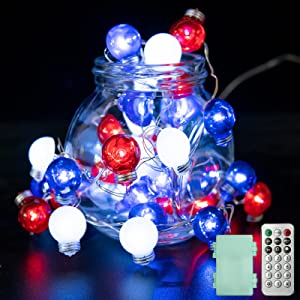 Independence Day Decor Red White Blue Bulb Shape LED String Lights American USA Patriotic Fairy Light for Memorial Day Presidents Day 10FT 40LEDs Battery Operated with Remote for Indoor Outdoor