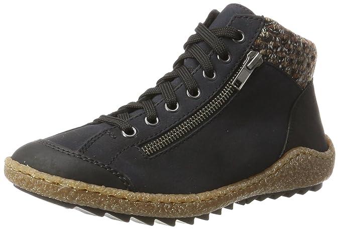 Rieker M6238, Baskets Hautes Femme, Noir (Schwarz/Schwarz/Grey/Schwarz), 37 EU