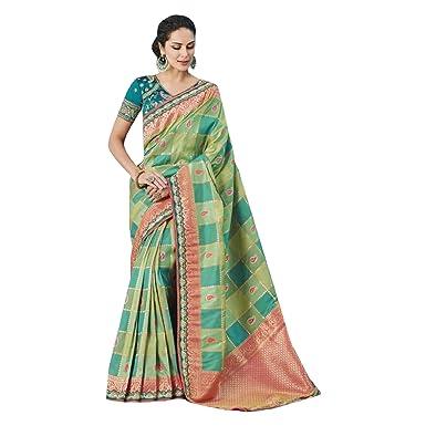 2865d2b909 Image Unavailable. Image not available for. Color: Banarasi Saree Wedding  Zari Sari Indian Silk Blouse Formal Muslim Women Black ...