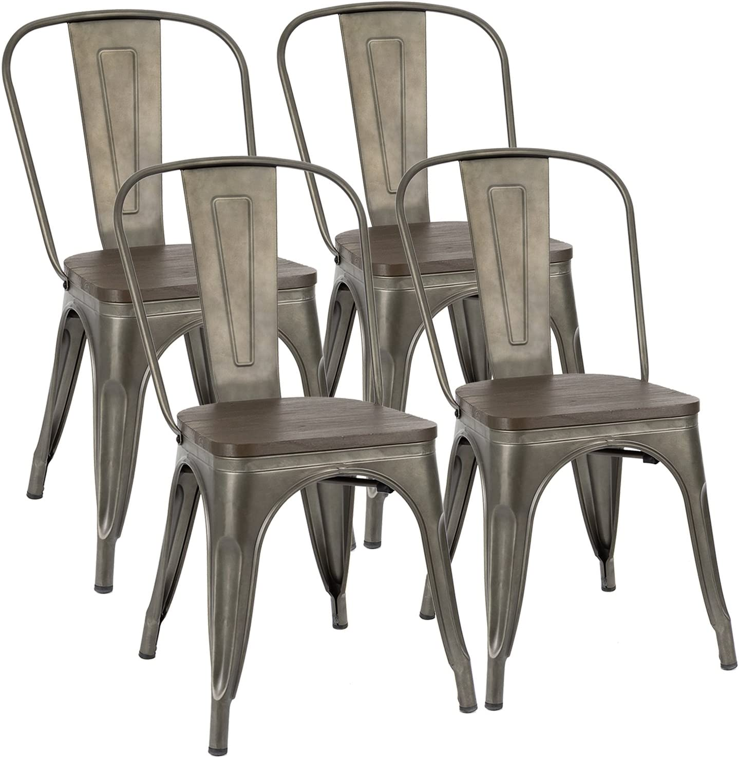 Furmax Metal Dining Chair Indoor-Outdoor Use Stackable Chic Dining Bistro Cafe Side Metal Chairs Set of 4 Gun