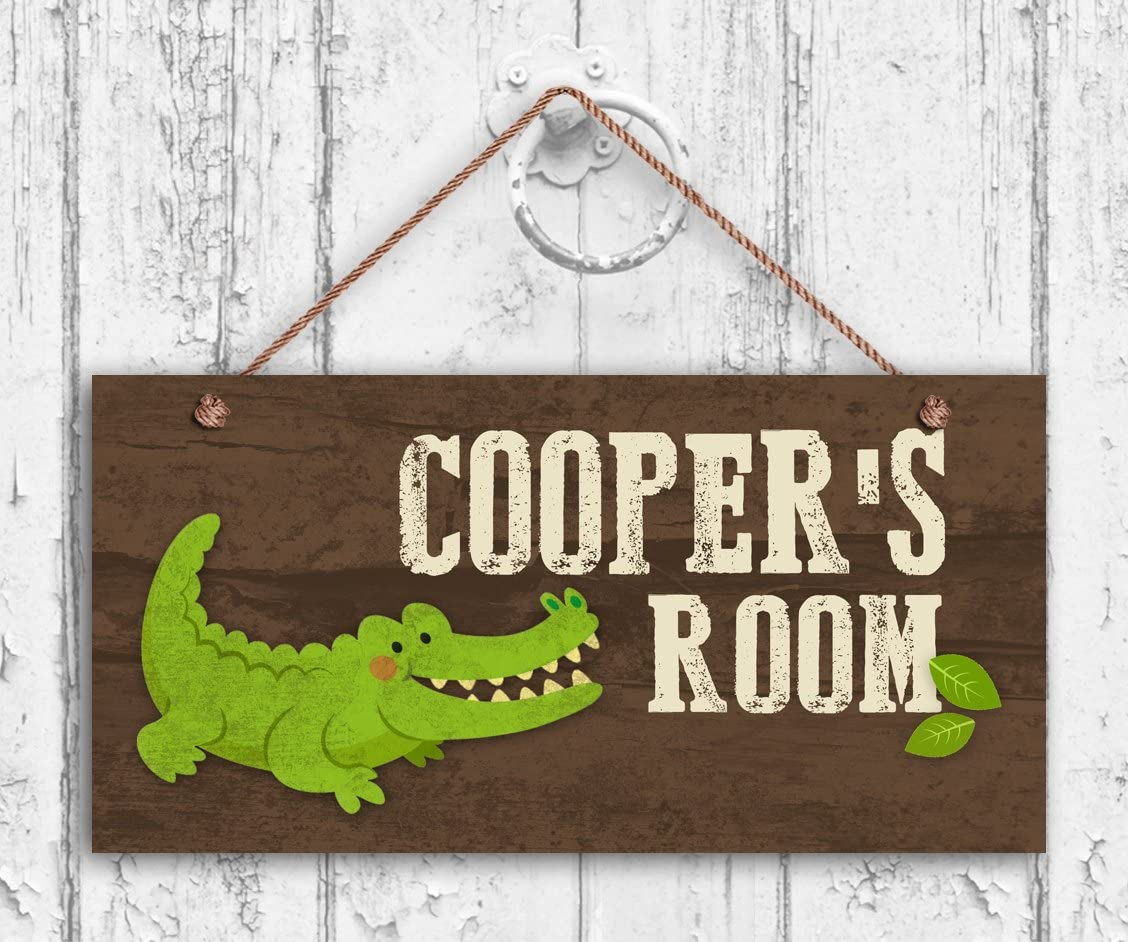 Alligator Sign Kids Door Sign 5x10 Sign Woodland Personalized Sign,Kid/'s Name