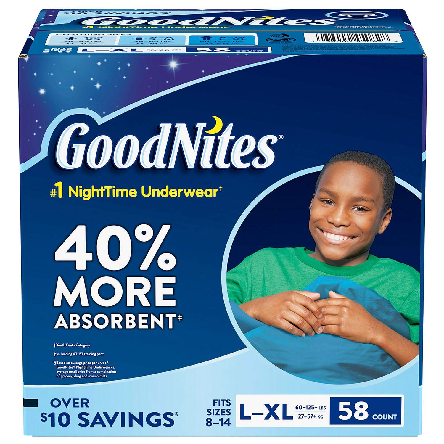 Goodnites Bedwetting Solutions Underwear for Boys 60-125lbs