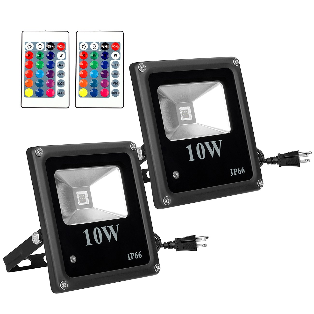 10W RGB LED Flood Lights, SHINE HAI IP66 Waterproof Outdoor Color Changing LED Security Light, 16 Colors 4 Modes with Remote Control, Wall Washer Lighting Stage Light with US 3-Plug, 2-Pack
