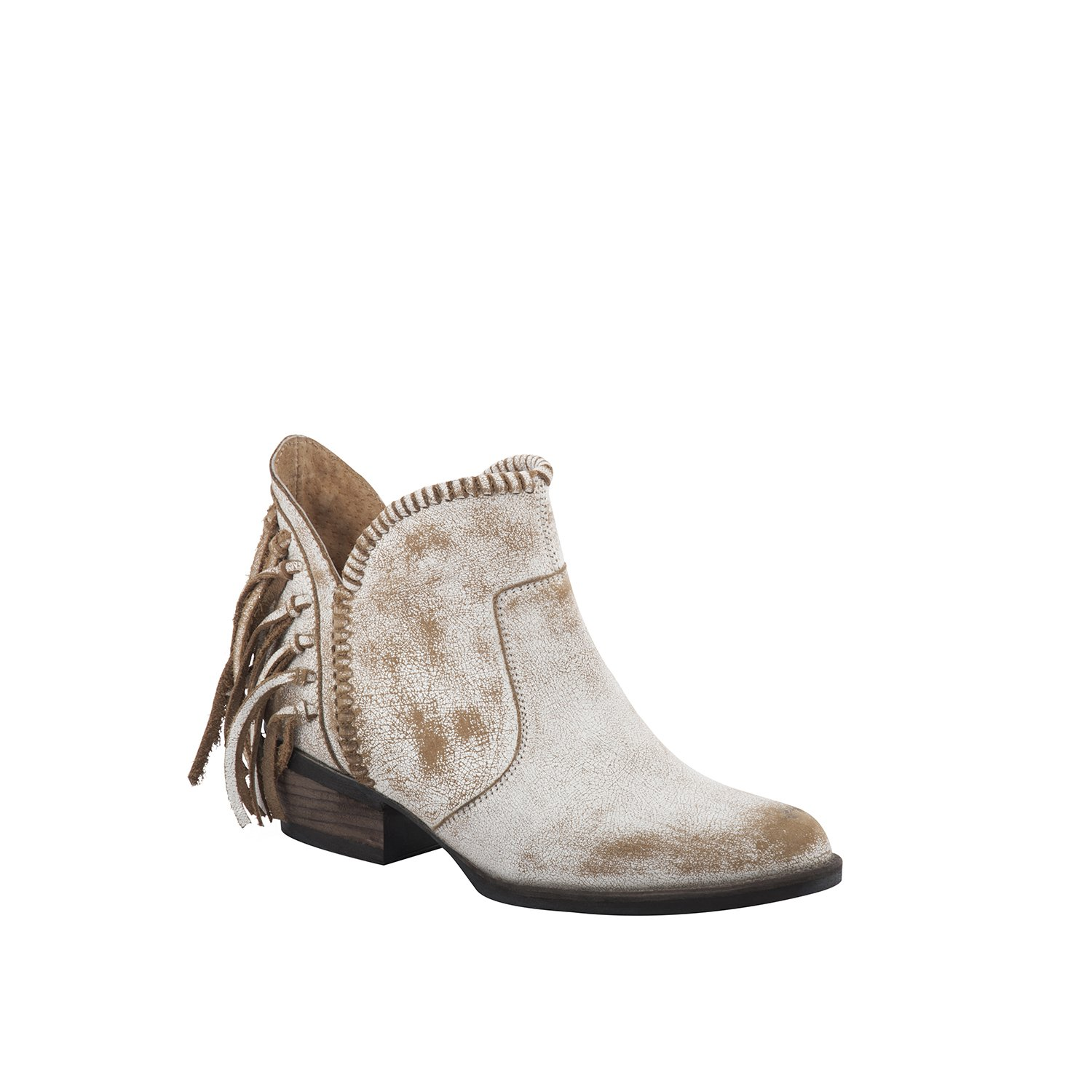 Corral Urban Women's Back Fringe Braided Top Distressed White Leather Shortie Cowboy Boots B01IFL64LO 8 B(M) US|White