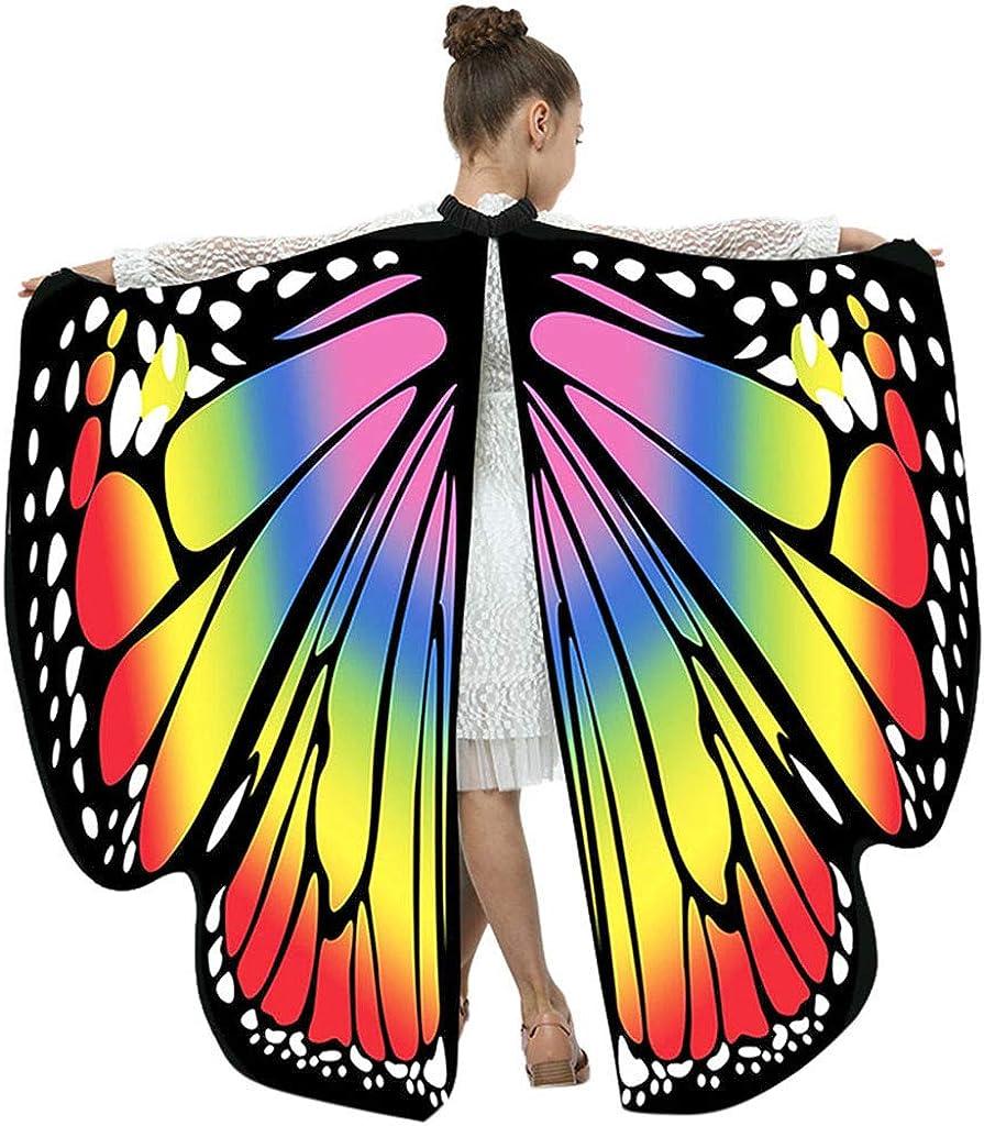 Karneval Party Cosplay Kleidung Poncho Fee Nymphe Pixie Elf Kost/üm Zusatz Butterfly Wings Battnot Schmetterling Kost/üm Kinder Jungen M/ädchen Choker Schmetterlingsfl/ügel 108x136CM Tanzzubeh/ör Rosa