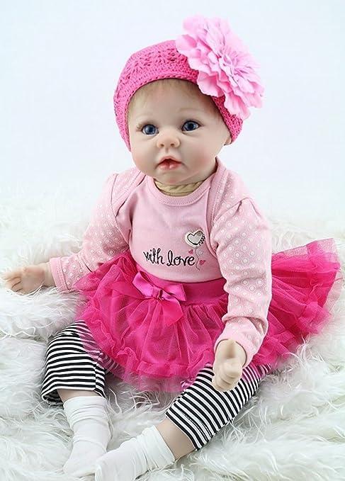 ad5badef44056 ZIYIUI Hecho a Mano 55cm 22 Pulgadas Reborn Bebe Muñecas Realista Vinilo  Silicona Girl Recién Nacido