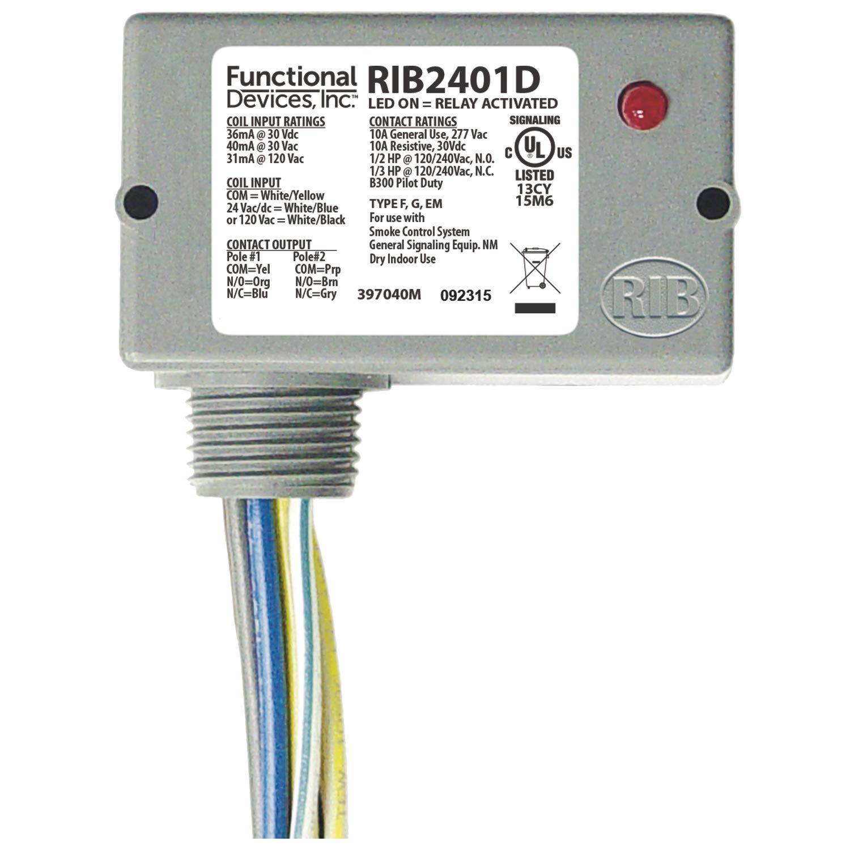 Functional Devices RIB2401D Pilot Relay, 10 Amp DPDT, 24 Vac/dc/120 Vac Coil, NEMA 1 Housing