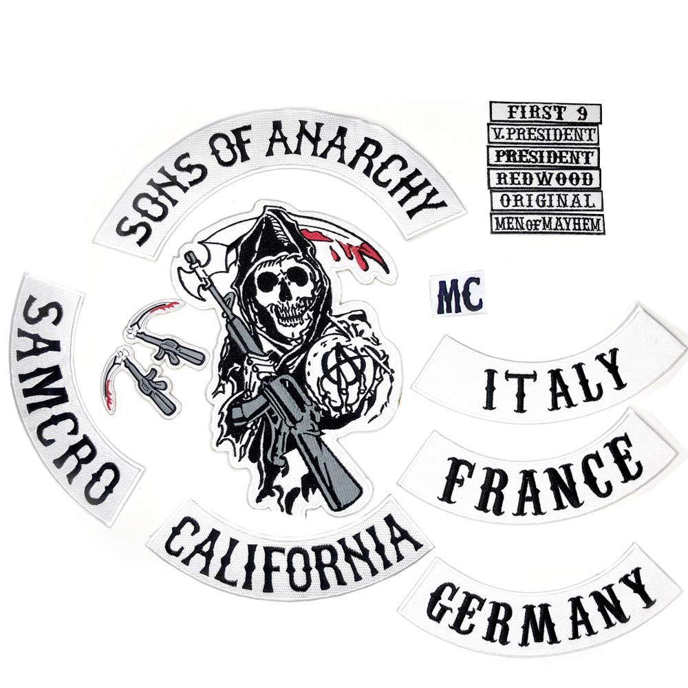 Sons of Anarchy Patch à Coudre 100% identique aux Originaux avec Patch France/Germany / Italy SOA br 02