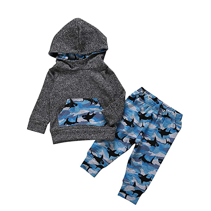a17a7ddd Toddler Infant Baby Boys Clothes Baby Shark Doo Doo Doo Long Sleeve Hoodie  Tops Sweatsuit +