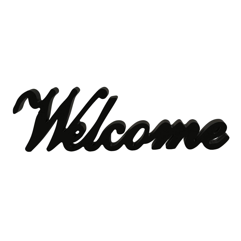 CVHOMEDECO. Matt Black Wooden Words Sign Free Standing Welcome Desk/Table/Shelf/Home Wall/Office Decoration Art, 14-1/2 x 4-1/4 x 1 Inch