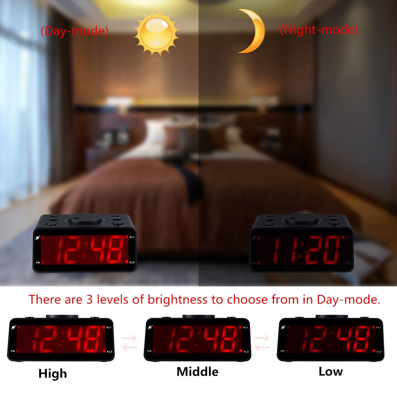 Kwanwa - Reloj electrónico con alarma de grabación de voz, solo funciona con pilas, pantalla de 1,2 pulgadas con números rojos: Amazon.es: Hogar