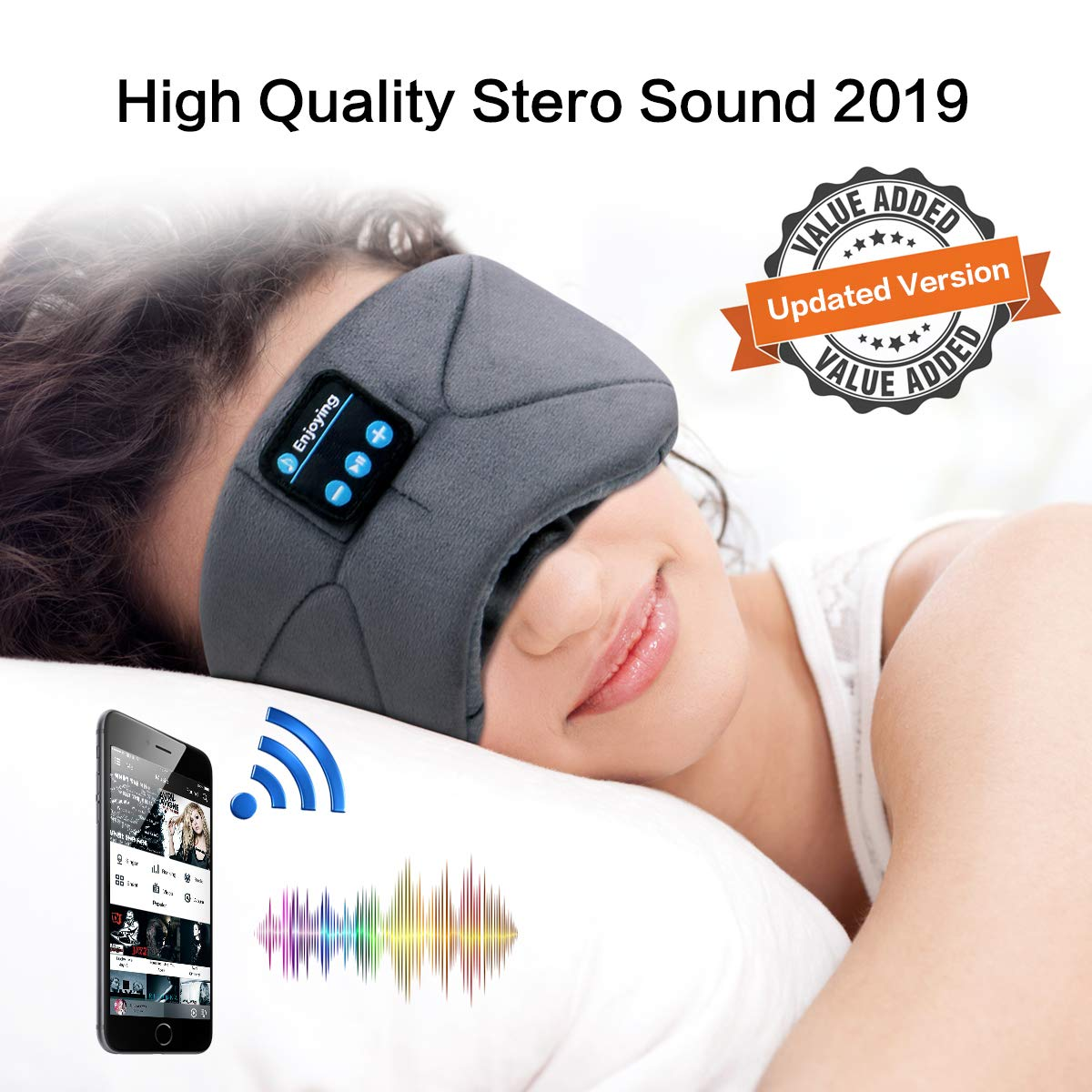 Bluetooth Sleep Eye Mask Wireless Headphones, WUMINGLU Upgraded Bluetooth 4.2 Sleeping Headphones Music Eye Shades Bluetooth Headsets Built-in Microphone for Travel Siesta…