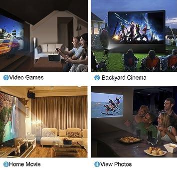 OCDAY Full HD 1080P Mini Proyector 1800LM Portátil Multimedia Home ...