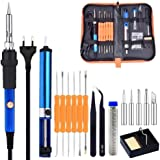 TECHTEST Soldering Tool Kit with Adjustable Temperature Welding Iron, 5 Tips, Desoldering Pump, 2 Tweezers, Tin Wire Tube, Stand and 6 Aid Tools in PU Carry Bag