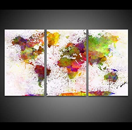 PCS Framed Colorful World Map Canvas Prints Piece Map Artwork - Colorful world map painting