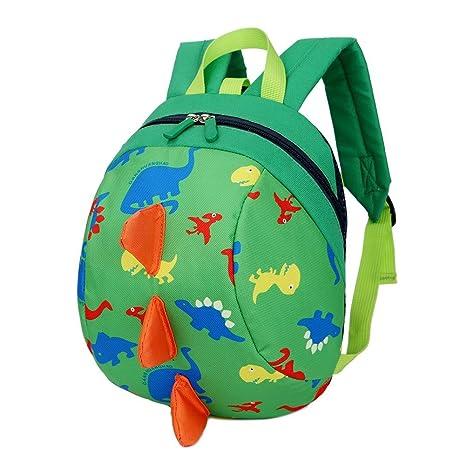 Mochila para niños Mochila de dibujos animados de patrón de dinosaurios con arnés de seguridad Mochila