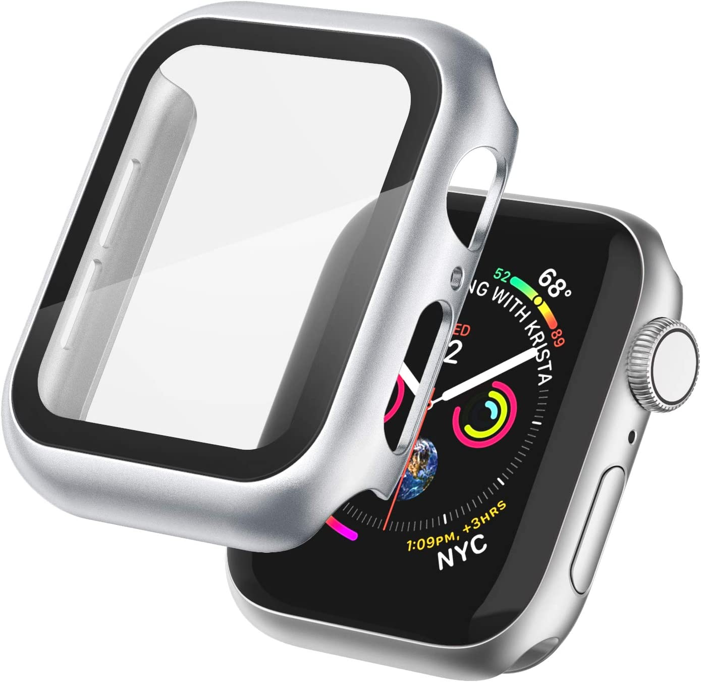 Apple Watch Case 44mm with Tempered Glass Screen Protector for Apple Watch Series 6/5/4 SE Ultra-Thin Full Around Hard Apple Watch Protective Case Cover for Women Men iWatch Series 44mm (Silver)