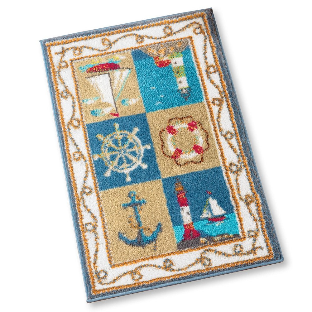 Collections Etc Coastal Nautical Tufted Accent Rug - Features Lighthouse, Boats, Anchors, Steering Wheal, and Life Preserver Winston Brands