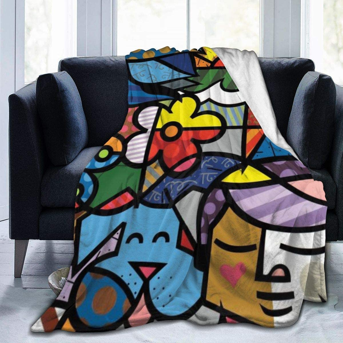 Hoswee Coperta Vellutata in Pile Romero-Britto Gambar Grafiti Nama Bayu Super Soft Cozy Micro Plush Velvet Fleece Blanket Warm Fuzzy Bed Throw Blanket Luxurious
