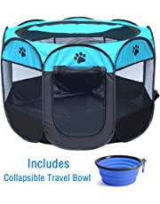 "ZuHucpts Indoor Outdoor Dog Pet Playpen / Portable Foldable Puppy Cat Exercise Pen Kennel Tent/ Soft Folding Crate Cage House + Collapsible Travel Bowl | Water resistant | Removable shade cover (Large (36"" x 36"" x 23""), Bule)"