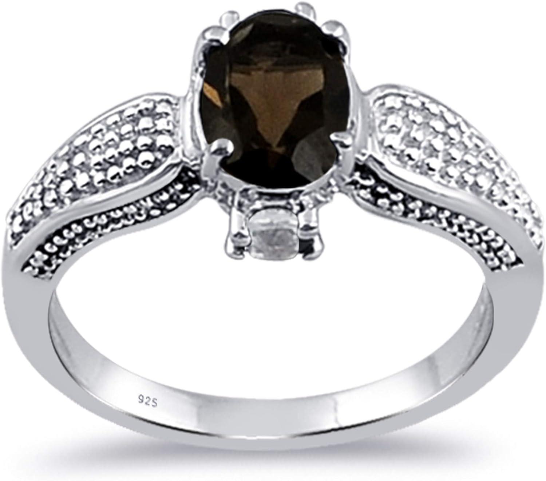 1.40 Carat ctw Garnet /& White Topaz Ring Sterling Silver